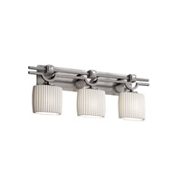 Limoges 3 Light 29 inch Brushed Nickel Bath Bar Wall Light in Pleats, Oval