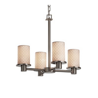 Justice Design Limoges Rondo 4-Light Chandelier in Brushed Nickel POR-8510-10-CHKR-NCKL