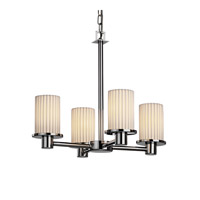 Justice Design POR-8510-10-PLET-CROM Limoges 4 Light Polished Chrome Chandelier Ceiling Light in Pleats photo thumbnail