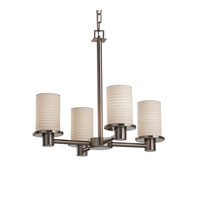 Justice Design Limoges Rondo 4-Light Chandelier in Brushed Nickel POR-8510-10-SAWT-NCKL