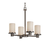 Justice Design Limoges Rondo 4-Light Chandelier in Brushed Nickel POR-8510-10-WAVE-NCKL
