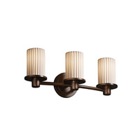 Justice Design POR-8513-10-PLET-DBRZ Limoges 3 Light 20 inch Dark Bronze Bath Bar Wall Light in Pleats photo thumbnail