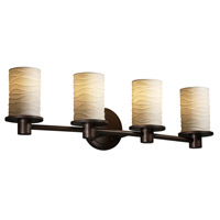 Justice Design POR-8514-10-WAVE-DBRZ Limoges 4 Light 28 inch Dark Bronze Bath Bar Wall Light in Waves photo thumbnail