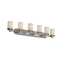 Justice Design POR-8516-10-WAVE-CROM Limoges 6 Light 44 inch Polished Chrome Bath Bar Wall Light in Waves photo thumbnail