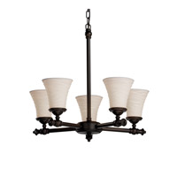 Justice Design Limoges Tradition 5-Light Chandelier in Dark Bronze POR-8520-20-WAVE-DBRZ