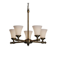 Justice Design Limoges Tradition 5-Light Chandelier in Antique Brass POR-8520-20-WFAL-ABRS photo thumbnail