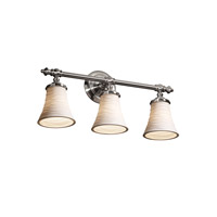 Justice Design Limoges Tradition 3-Light Bath Bar in Brushed Nickel POR-8523-20-WAVE-NCKL