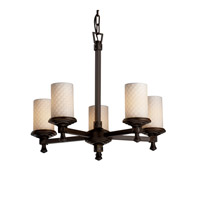 Justice Design Limoges Deco 5-Light Chandelier in Dark Bronze POR-8530-10-CHKR-DBRZ