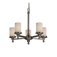 Justice Design Limoges Deco 5-Light Chandelier in Brushed Nickel POR-8530-10-PLET-NCKL