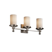 Justice Design POR-8533-10-PLET-NCKL Limoges 3 Light 21 inch Brushed Nickel Bath Bar Wall Light in Pleats photo thumbnail