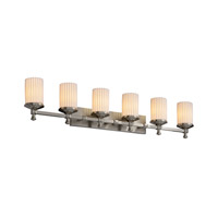 Limoges 6 Light 46 inch Brushed Nickel Bath Bar Wall Light in Pleats