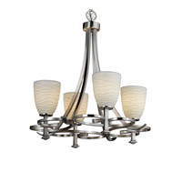 Justice Design Limoges Arcadia 4-Uplight Chandelier in Brushed Nickel POR-8560-18-WAVE-NCKL