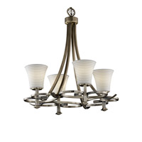 Justice Design Limoges Arcadia 4-Uplight Chandelier in Antique Brass POR-8560-20-SAWT-ABRS