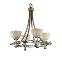 Justice Design Limoges Arcadia 4-Uplight Chandelier in Antique Brass POR-8560-35-LEAF-ABRS