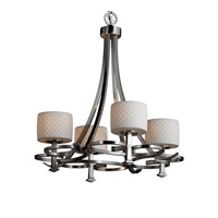 Justice Design Limoges Arcadia 4-Uplight Chandelier in Brushed Nickel POR-8560-45-CHKR-NCKL
