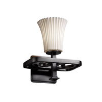 Justice Design Limoges Arcadia 1-Light Wall Sconce in Matte Black POR-8561-20-PLET-MBLK