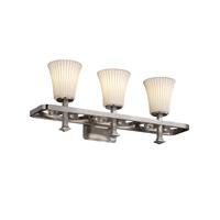 Limoges 3 Light 26 inch Brushed Nickel Bath Bar Wall Light in Pleats, Round Flared