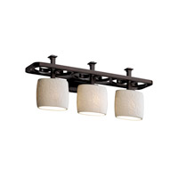 Justice Design Limoges Arcadia 3-Light Bath Bar in Dark Bronze POR-8563-30-LEAF-DBRZ
