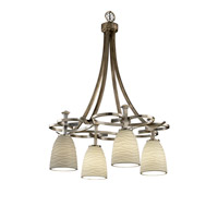 Justice Design Limoges Arcadia 4-Downlight Chandelier in Antique Brass POR-8565-18-WAVE-ABRS