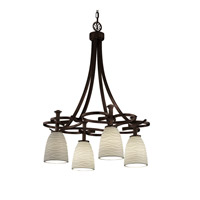 Justice Design Limoges Arcadia 4-Downlight Chandelier in Dark Bronze POR-8565-18-WAVE-DBRZ
