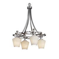 Justice Design Limoges Arcadia 4-Downlight Chandelier in Brushed Nickel POR-8565-22-SAWT-NCKL