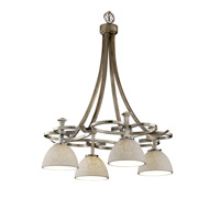 Justice Design Limoges Arcadia 4-Downlight Chandelier in Antique Brass POR-8565-35-LEAF-ABRS