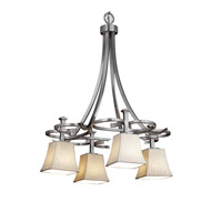 Limoges 4 Light 24 inch Brushed Nickel Chandelier Ceiling Light in Waterfall, Square Flared
