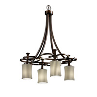 Justice Design Limoges Arcadia 4-Downlight Chandelier in Dark Bronze POR-8565-60-PLET-DBRZ