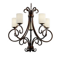 Justice Design Limoges Victoria 5-Uplight Chandelier in Dark Bronze POR-8570-10-PLET-DBRZ