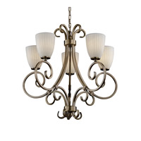 Justice Design POR-8570-18-WFAL-ABRS Limoges 5 Light 30 inch Antique Brass Chandelier Ceiling Light in Waterfall, Tapered Cylinder photo thumbnail