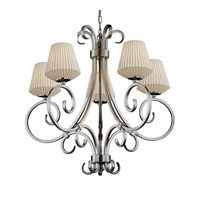 Limoges 5 Light Brushed Nickel Chandelier Ceiling Light in Pleats, Inverted Cone