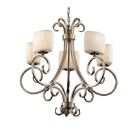 Limoges 5 Light Antique Brass Chandelier Ceiling Light in Leaf, Oval