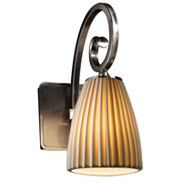 Justice Design POR-8571-18-PLET-NCKL Limoges Victoria 1 Light 5 inch Brushed Nickel Wall Sconce Wall Light in Pleats Tapered Cylinder