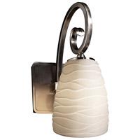 Justice Design POR-8571-18-WAVE-NCKL Limoges Victoria 1 Light 5 inch Brushed Nickel Wall Sconce Wall Light in Waves Tapered Cylinder