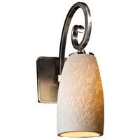 Justice Design POR-8571-28-LEAF-NCKL Limoges Victoria 1 Light 5 inch Brushed Nickel Wall Sconce Wall Light in Leaf Tall Tapered Cylinder