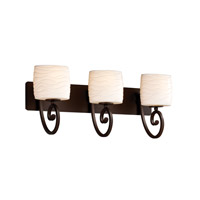 Justice Design Limoges Victoria 3-Light Bath Bar in Dark Bronze POR-8573-30-WAVE-DBRZ