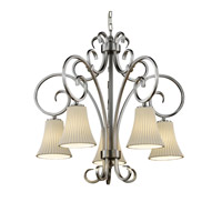 Justice Design Limoges Victoria 5-Downlight Chandelier in Brushed Nickel POR-8575-20-PLET-NCKL
