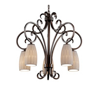 Justice Design Limoges Victoria 5-Downlight Chandelier in Dark Bronze POR-8575-28-OVAL-DBRZ