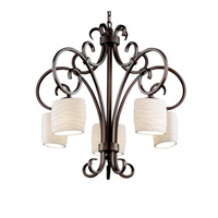Justice Design Limoges Victoria 5-Downlight Chandelier in Dark Bronze POR-8575-30-WAVE-DBRZ