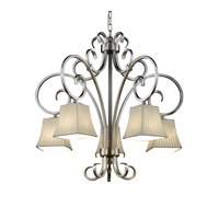 Justice Design Limoges Victoria 5-Downlight Chandelier in Brushed Nickel POR-8575-40-WFAL-NCKL