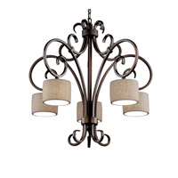 Justice Design Limoges Victoria 5-Downlight Chandelier in Dark Bronze POR-8575-45-LEAF-DBRZ