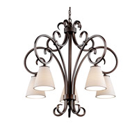 Justice Design Limoges Victoria 5-Downlight Chandelier in Dark Bronze POR-8575-50-SAWT-DBRZ