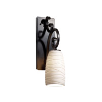 Justice Design Limoges Victoria 1-Light Wall Sconce (Medium) in Matte Black POR-8578-28-WAVE-MBLK