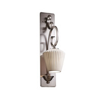 Limoges 1 Light 7 inch Brushed Nickel Wall Sconce Wall Light in Pleats, Inverted Cone