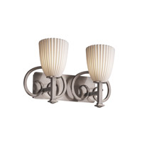 Limoges 2 Light 19 inch Brushed Nickel Bath Bar Wall Light in Pleats, Tapered Cylinder