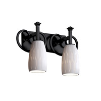 Justice Design Limoges Heritage 2-Light Bath Bar in Matte Black POR-8582-28-OVAL-MBLK
