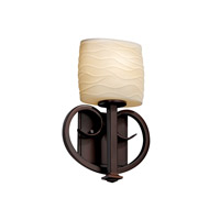 Justice Design Heritage 1 Light Wall Sconce in Dark Bronze POR-8587-30-WAVE-DBRZ