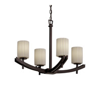 Justice Design Archway 4 Light Chandelier in Dark Bronze POR-8590-10-PLET-DBRZ