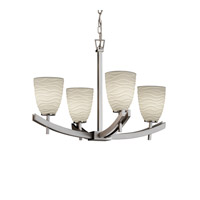 Justice Design Archway 4 Light Chandelier in Brushed Nickel POR-8590-18-WAVE-NCKL
