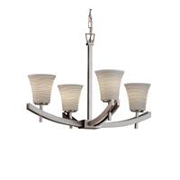 Justice Design Archway 4 Light Chandelier in Brushed Nickel POR-8590-20-WAVE-NCKL
